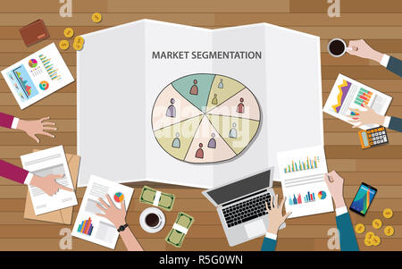 market marketing segmentation with people group on segment circle team discuss - Stock Photo