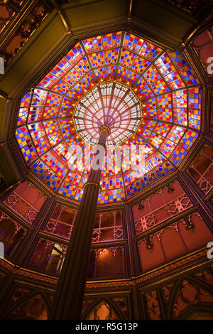 USA, Louisiana, Baton Rouge, Louisiana Old State Capitol Museum, stained-glass rotunda - Stock Photo