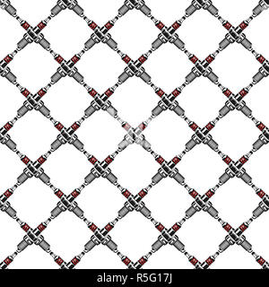 Spark plugs Pattern. Garage Seamless symbols. Stock mechanic wallpaper illustration isolated on white background