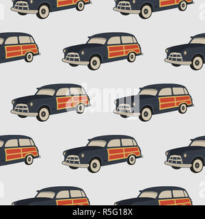 Surf car pattern. Surfing seamless wallpaper. Summer background with old automobile isolated on white background