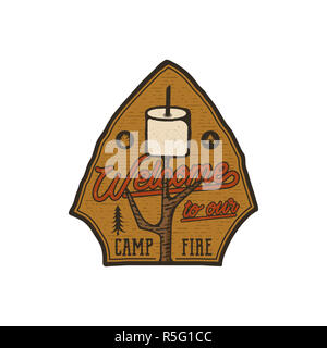 Campsite Logo Emblem. Vintage hand drawn travel badge. Featuring marshmallow and quote - welcome to our campfire. Adventure club patch. Retro colors. Stock hike, wanderlust insignia isolated - Stock Photo