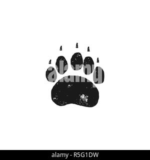 Bear footprint. Wild animal paw in silhouette style. Black grizzly foot icon. Stock isolated on white background - Stock Photo