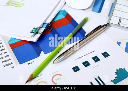 Picture of chart paper, pen and pencil. - Stock Photo