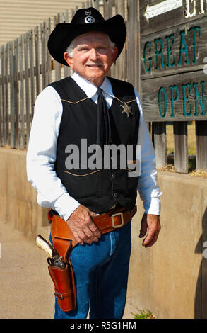 USA, Kansas, Dodge City, Boot Hill Museum, Actor, Deputy Marshall - Stock Photo