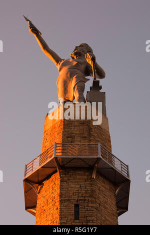 USA, Alabama, Birmingham, Vulcan Park, Vulcan Statue - Stock Photo