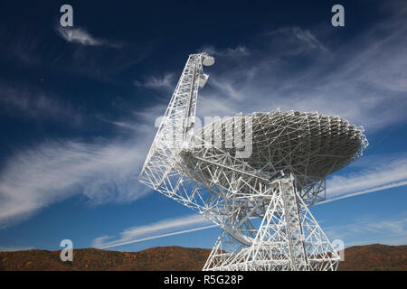 USA, West Virginia, Green Bank, National Radio Astronomy Observatory, Robert C. Byrd Green Bank Telescope (GBT), the world's largest fully steerable radio telescope - Stock Photo
