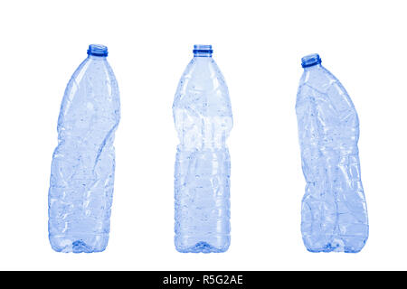 Three empty plastic waste bottles isolated on white background, clipping-path included - Stock Photo
