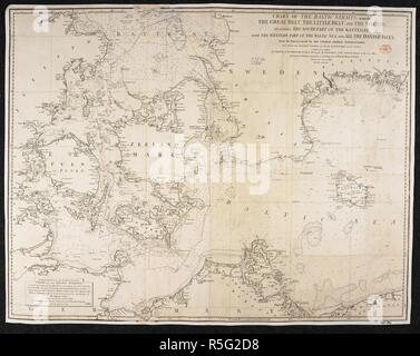 A chart of the Baltic Sea Straits. Chart of the Baltic Sea Straits, namely, the Great Belt, the Little Belt and the Sound; including the South Part of the Kattegat, with the Western Part of the Baltic Sea, and all the Danish Isles, from the Surveys made by the Swedish Admiral Nordenankar and Professor C. Lous. London : W. Faden, 1807. Source: Maps 1069.(32.). Language: English. - Stock Photo