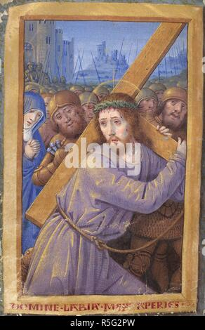 Christ carrying the Cross. Book of Hours. France; 16th century. [Whole folio] Office of the Holy Cross at Matins. Christ carriying the Cross to Calvary, with the Virgin and soldiers  Image taken from Book of Hours.  Originally published/produced in France; 16th century. . Source: Harley 2877, f.44v. Language: Latin. - Stock Photo