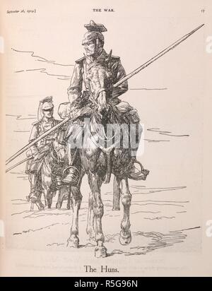 'The Huns'. An illustration showing two German lancers (Uhlans), during the First World War. The War, Nelson's picture weekly. London, 1914. Source: The War, Nelson's picture weekly. 26.09.1914. page 17. - Stock Photo