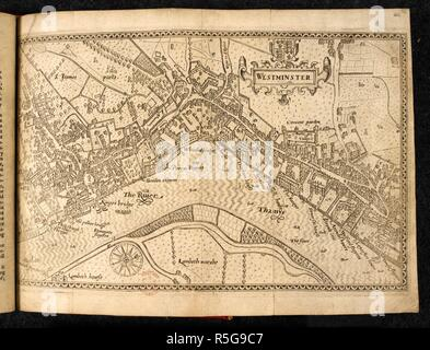 A map of Westminster. Westminster. [By John Norden]. [London], 1593. Source: Maps C.7.b.23.(1.), opposite page 42. Language: English. - Stock Photo