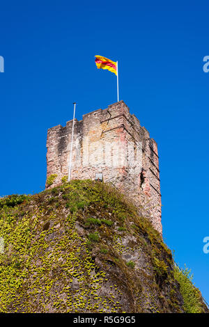 view of the castle tower of the old castle complex in hornberg in the black forest - Stock Photo