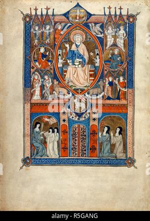 Ideal state of the Sainte Abbaye. La Sainte Abbaye. France [Paris or Maubuisson?]; between 1290 and 12. [Whole folio] In centre, God in mandorla, blessing, and holding an orb, with the Holy Spirit above, and the Paschal Lamb below. Either side, the Virgin and St Peter; and in the corners, the Evangelists' symbols, and seraphs and angels holding rolls. Below; a tower with battlements and elaborate ironwork. On left, Mistress of the Novices with birch rod, and two novices. On right; the abbess and a nun kneel, looking up at the Lamb  Image taken from La Sainte Abbaye.  Originally published/produ - Stock Photo