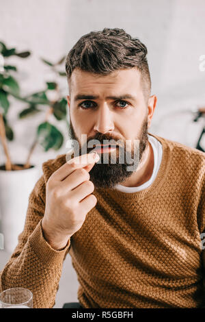 portrait of sick bearded man looking at camera and taking pill from illness - Stock Photo