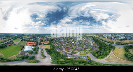 360-degree panorama of a suburb of a German industrial city with detached houses and skyscrapers, on the edge of the motorway and with sports faciliti - Stock Photo