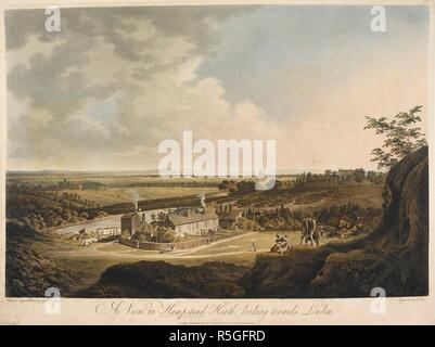 A view looking from Hampstead Heath towards London; grass and trees stretching to the horizon; a cottage in the middle ground; cows to the right of the scene; St. Paul's Cathedral in the distance. A View on Hampstead Heath looking towards London. London : Published Novr 30th 1804 by F. Jukes No 10 Howland Street., November 30 1804. Aquatint and etching with hand-colouring. Source: Maps K.Top.29.13.d. Language: English. Author: Sarjent. - Stock Photo