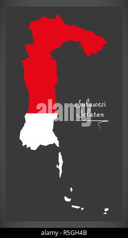 Sulawesi Selatan Indonesia map with Indonesian national flag illustration - Stock Photo