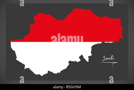 Jambi Indonesia map with Indonesian national flag illustration - Stock Photo