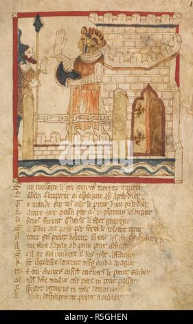 The giant Agolafre holds the drawbridge. ROMANCES in French verse ... 14th century. Source: Egerton 3028 f.103. Author: Wace, Canon of Bayeux. - Stock Photo