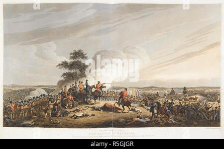 'View from Mont St. Jean. of the battle of Waterloo.' At the commencement of the grand charge made on the French about 7 O clock in the evening of the 18th June 1815. The campaign of Waterloo illustrated with engravings ... to which is prefixed a history of the campaign, etc. [By T. H. H.]. 1816. Source: 1850.c.27 plate after 32. Author: Horne, Thomas Hartwell. - Stock Photo