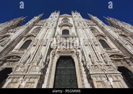 Exterior, Milan Cathedral, Duomo di Santa Maria Nascente, Milan, Lombardy, Italy - Stock Photo