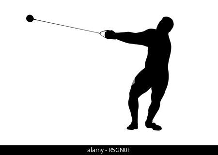 hammer throw male athlete black silhouette - Stock Photo