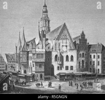 Historical illustration, Breslau townhall, Wroclaw, former German town, now Poland, Silesian, 1880 - Stock Photo