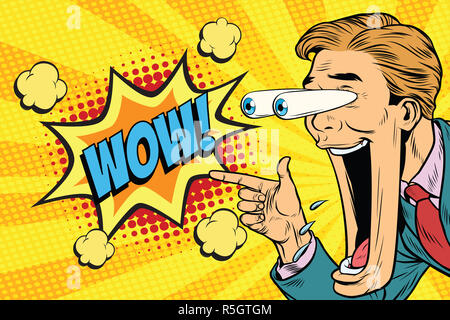 Hyper expressive reaction cartoon wow man face, big eyes and wid - Stock Photo