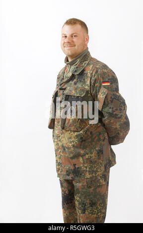 german soldier white background - Stock Photo