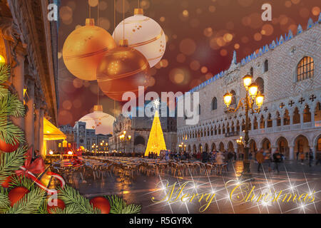 Christmas greetings card with fir braches, Venice San Marco Square abstract background and fantasy sky - Stock Photo