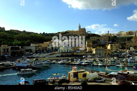 Mgarr harbour, Gozo - 8th October 2018:The harbour of Mgarr - Stock Photo