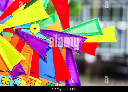 beautiful colored wallpaper of holland typical featured windmills - Stock Photo