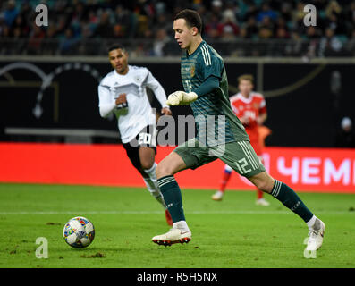 Leipzig, Germany - November 15, 2018. Russian national football team goalkeeper Andrey Lunev during international friendly Germany vs Russia in Leipzi - Stock Photo