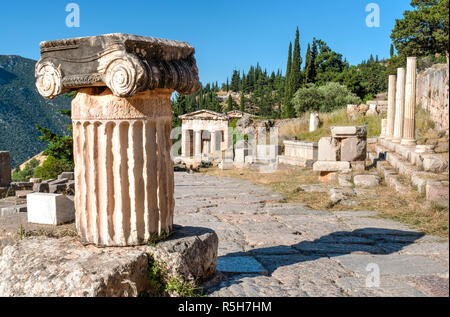 Ancient Greek columns viewed from top in delphi archaeological site Greece - Stock Photo