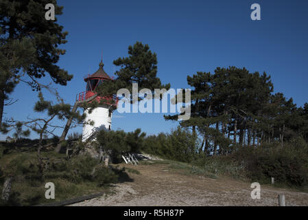 Lighthouse at Gellen on the southern part of Hiddensee which is an island in the Baltic Sea west of Germany's largest island Rügen. - Stock Photo