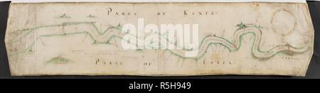 A plan of the River Thames, from London to Tilbury Hope. A colored plan, on vellum, of the river Thames, from London to Tilbury Hope, 'Roberto Adamo authore, 1588;' drawn on a scale of one inch to a mile. 1588. This plan is drawn to shew the scheme for the defence of the river Thames against the Spanish Armada; it contains the batteries erected at various points between Tilbury and Greenwich, with the ranges of the guns; and shews the two barriers proposed to be erected across the Thames, one between Tilbury and Gravesend, the other between Lee Ness and Blackwall. Source: Maps K.Top.6.17. - Stock Photo