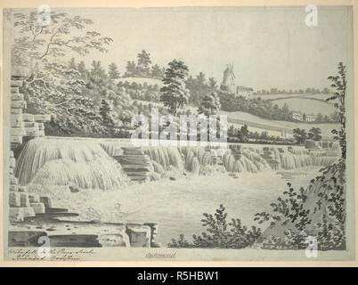 Figures fishing in the foreground; a waterfall in the centre of the scene; trees and fields in the middle ground; a windmill and houses in the distance. Waterfall on the River Swale Richmond Yorkshire. c. 1770-1800. Source: Maps K.Top.44.45.o. Language: English. Author: Buck. - Stock Photo