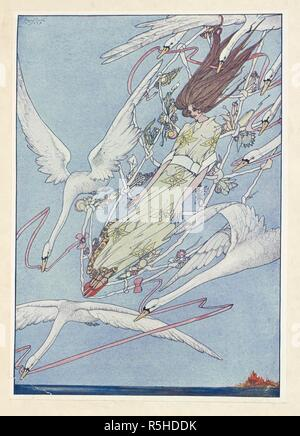 The Wild Swans. The whole day they flew onward through the air. . Fairy Tales ... Illustrated by Harry Clarke. F.P. London : G. G. Harrap & Co., [1916]. Source: K.T.C.102.a.15 plate opposite page 226. - Stock Photo