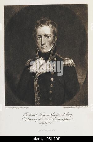 'Frederick Lewis Maitland. Esq. Captain of H.M.S. Bellerophon. 15 July 1815. From an engraving by Henry Meyer. Painted by Samuel Woodford esq. R.A. The Surrender of Napoleon: being the narrative of the surrender of Buonaparte, and of his residence on board H.M.S. Bellerophon ... A new edition. Edited with a memoir of the author by W. K. Dickson. Edinburgh ; London : William Blackwood & Sons, 1904. Source: 09077.h.24 frontispiece. Author: MEYER, HENRY. Maitland, Frederick Lewis, Sir, K. C. B. - Stock Photo
