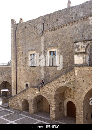 The hilltop town of Miglionico in Basilicata, Southern Italy - Stock Photo