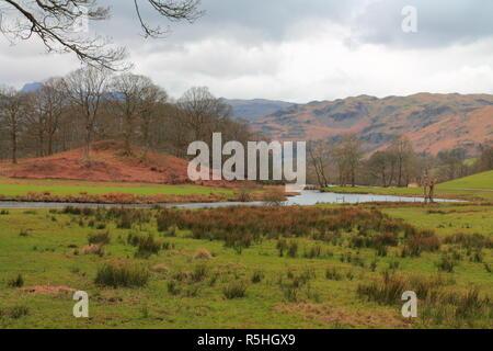 Elterwater Skelwith Bridge Walk. River Brathay, English Lake District, Lakeland, Cumbria, Cumbrian Way, Lake District National Park UK British.