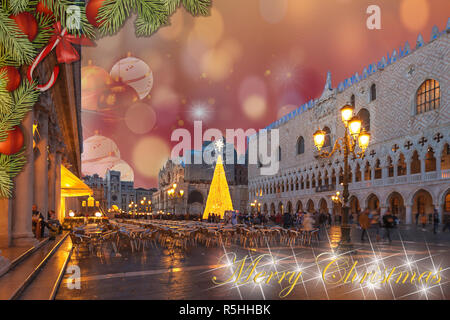 Christmas greetings card with fir braches, Venice San Marco Square abstract background and ball's fantasy sky - Stock Photo