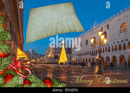 Christmas greetings card with fir branches and Venice San Marco Square abstract background - Stock Photo