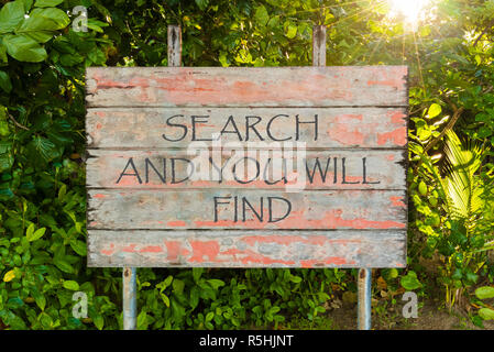 Search and You Will Find motivational quote written on old vintage board sign in the forrest, with sun rays in background. - Stock Photo