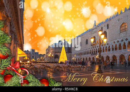 Christmas greetings card with fir branches, Venice San Marco Square abstract background and fantasy sky - Stock Photo