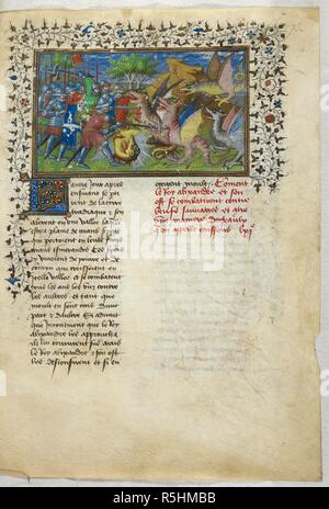 Miniature of Alexander's battle against dragons with emeralds in their foreheads. Historia de proelis in a French translation (Le Livre et le vraye hystoire du bon roy Alixandre). France, Central (Paris); c.1420. Source: Royal 20 B. XX, f.73. Language: French. - Stock Photo