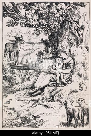 Illustration of woman holding child, under tree, beside stream, with animals gathered around and cherubs watching from tree. Sing-Song. A nursery rhyme book. With illustrations by A. Hughes, etc. London, 1872. Source: 11651.e.7 frontispiece. Language: English. Author: ROSSETTI, CHRISTINA GEORGINA. HUGHES, ARTHUR. - Stock Photo