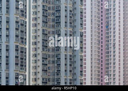 Facade of building in hong Kong city - Stock Photo