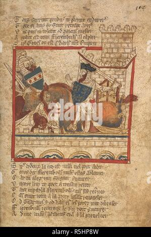 Fierenbras reproves Ginnelun. ROMANCES in French verse ... 14th century. Source: Egerton 3028 f.114. Author: Wace, Canon of Bayeux. - Stock Photo