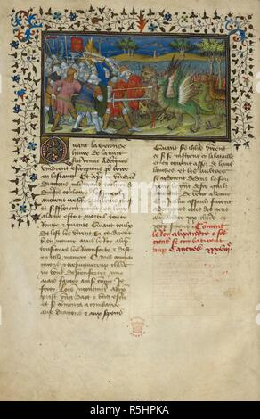 Alexander the Great's battle with dragons. La Vraye Histoire du Bon Roy Alixandre (The Alexander Romance in Old French prose). France; early 15th century. Source: Royal 20 B. XX, f.49v. Language: French. Author: Pseudo-Callisthenes. - Stock Photo